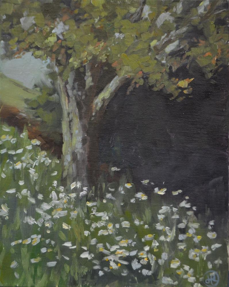 """bank of daisies"" original fine art by Dottie  T  Leatherwood"