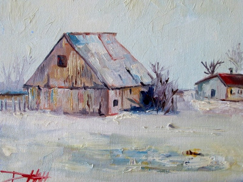 """Winter Barn"" original fine art by Delilah Smith"