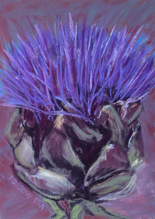 """Artichoke Bloom"" original fine art by Cristine Kossow"