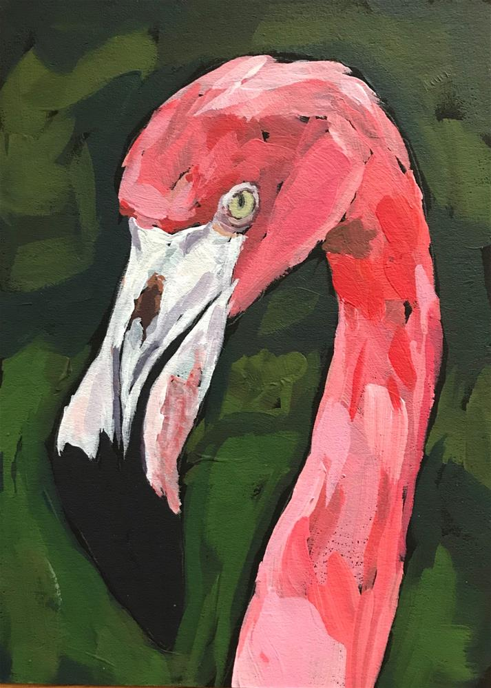 """Flamingo 3"" original fine art by Gina Garding"