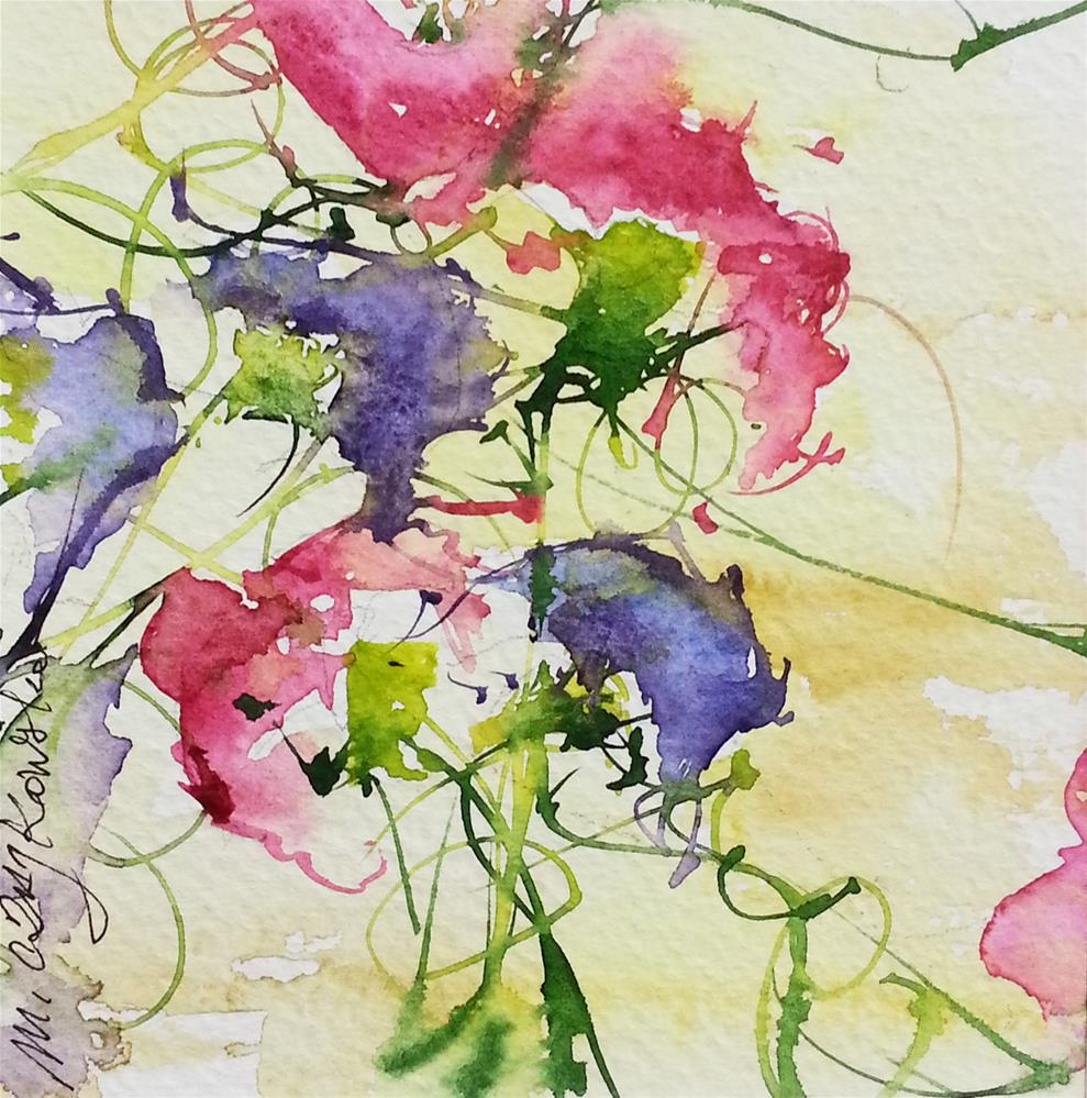 """Flower peas 2"" original fine art by Marlena Czajkowska"