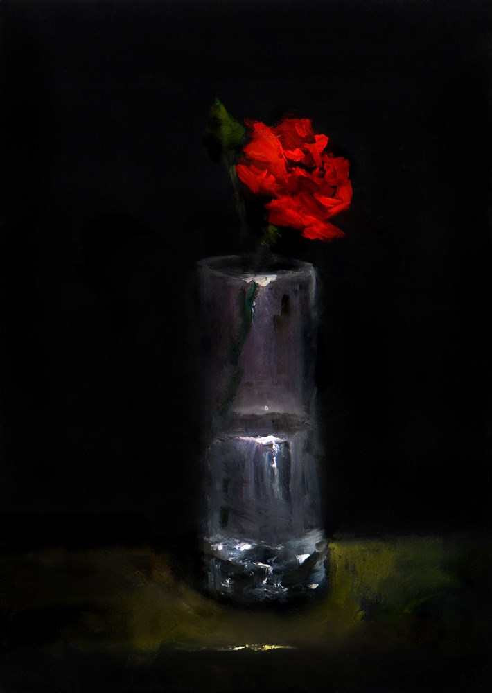 """""""A Rose in a Tall Glass"""" original fine art by Bob Kimball"""