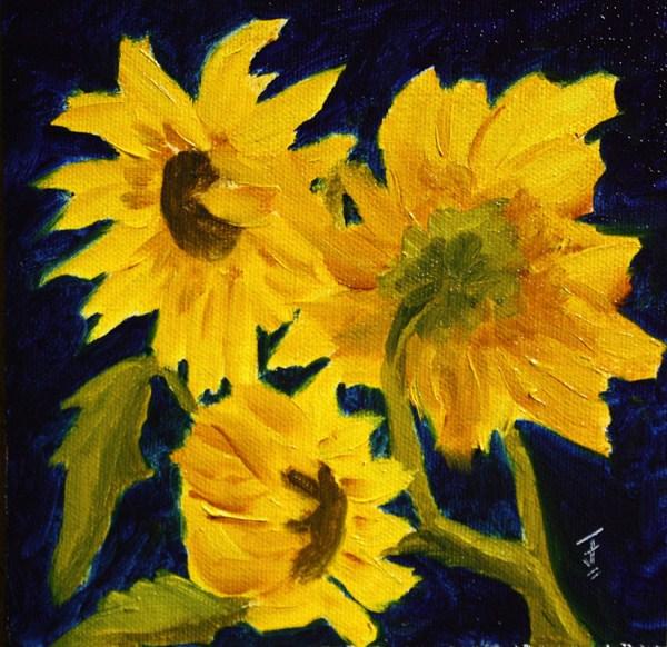 """Sunflower Trio"" original fine art by Jane Frederick"