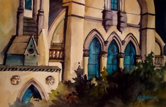 """""""Church Windows-Chicago South Side"""" original fine art by Kathy Los-Rathburn"""