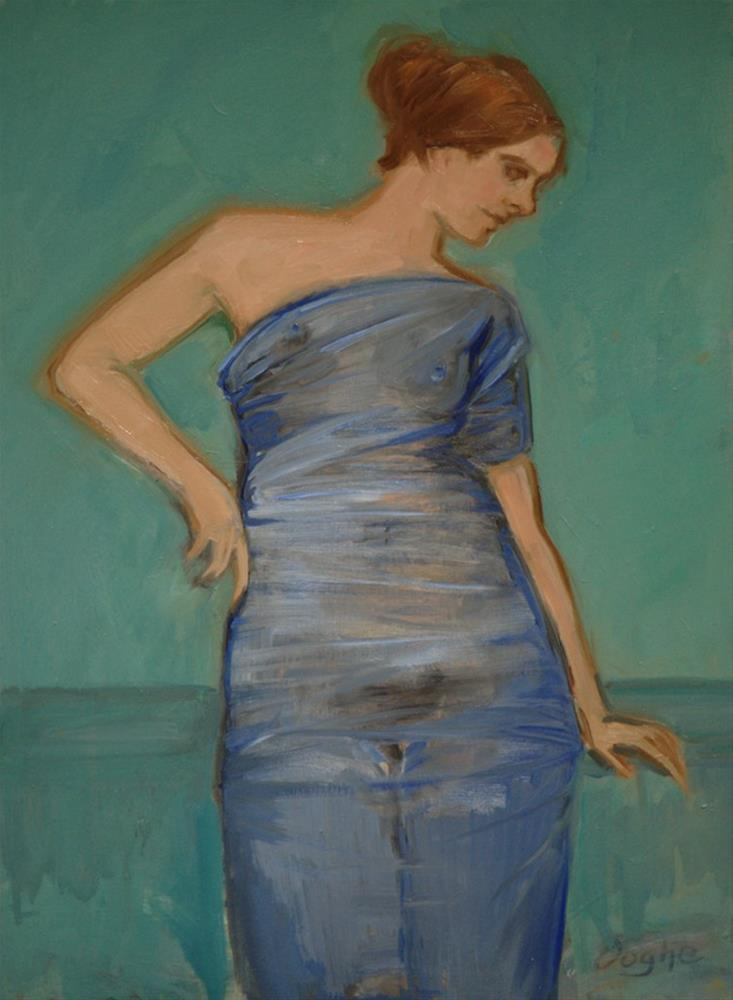 """""""Nude Wrapped in Blue"""" original fine art by Angela Ooghe"""