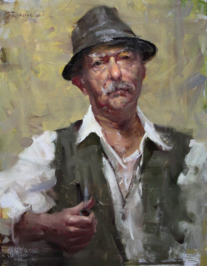 """Man with Pipe"" original fine art by Fongwei Liu"
