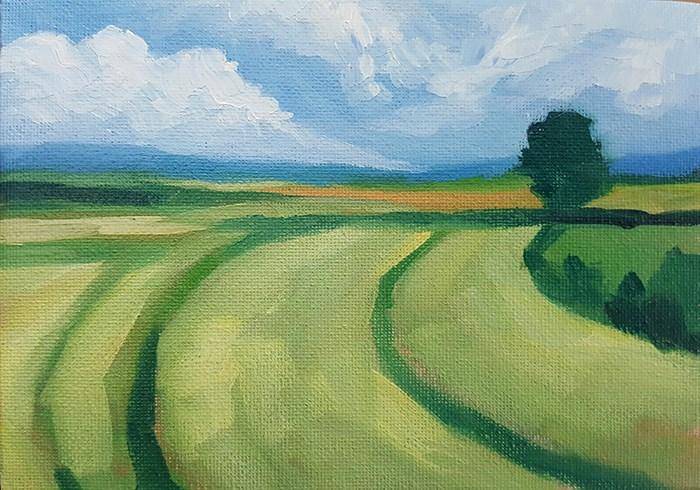 """""""Fields in Summer"""" original fine art by J M Needham"""