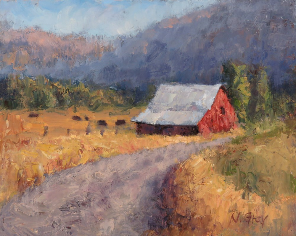 """Red Barn and Country Road"" original fine art by Naomi Gray"
