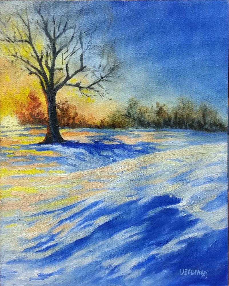 """Snowy Sunrise"" original fine art by Veronica Brown"