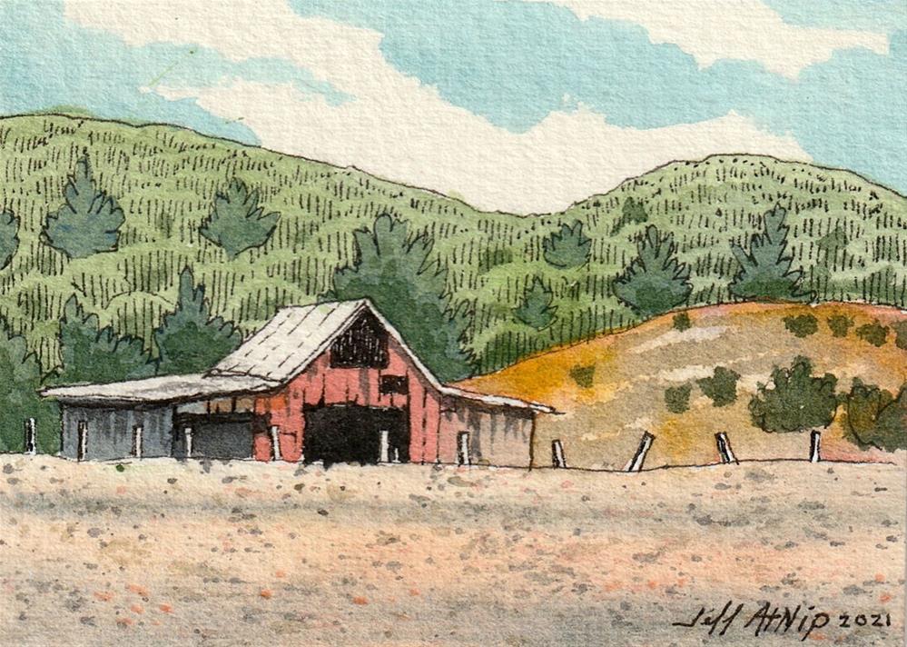 """Red Barn with Hills"" original fine art by Jeff Atnip"