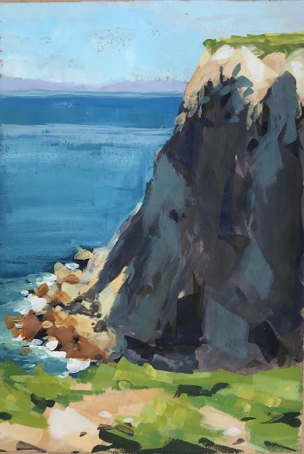 """Anacapa Cliff Shadows - gouache"" original fine art by Sharon Schock"