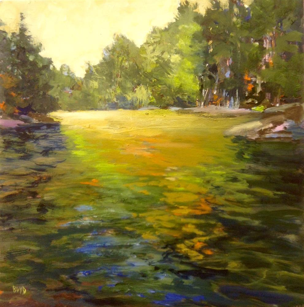 """Gold and Green"" original fine art by Cathy Boyd"
