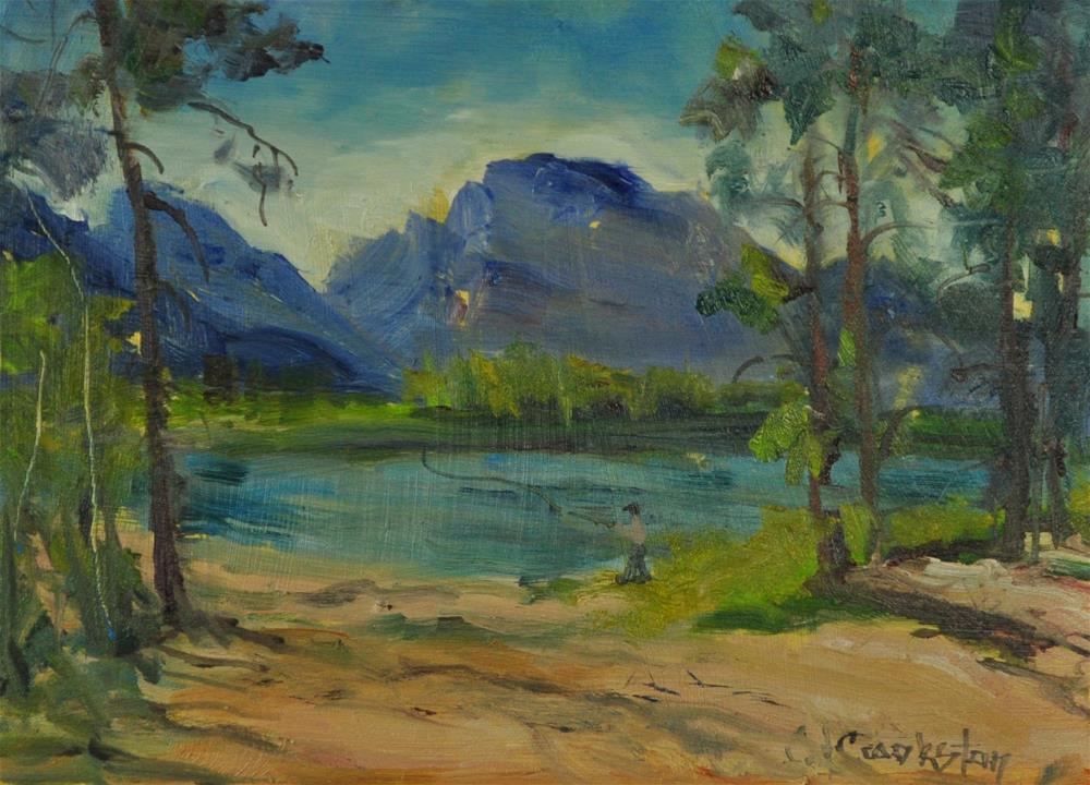 """Fly Fishing"" original fine art by Catherine Crookston"