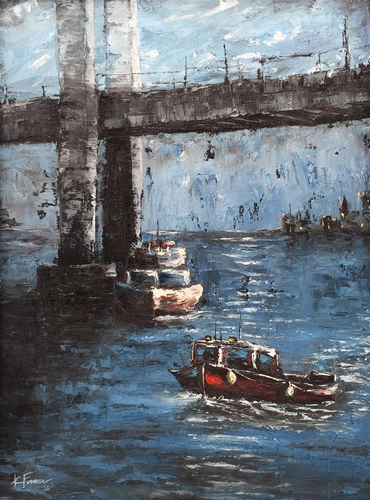 """Moonlite Bridge"" original fine art by Ken Fraser"