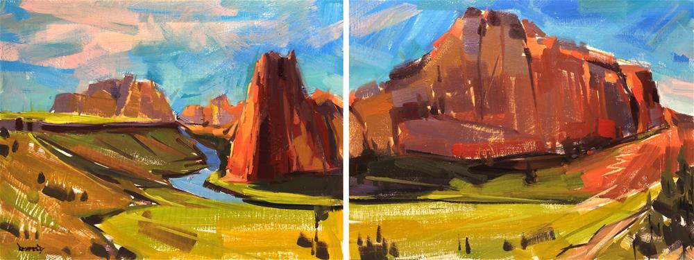 """Diptych Smith Rock"" original fine art by Cathleen Rehfeld"