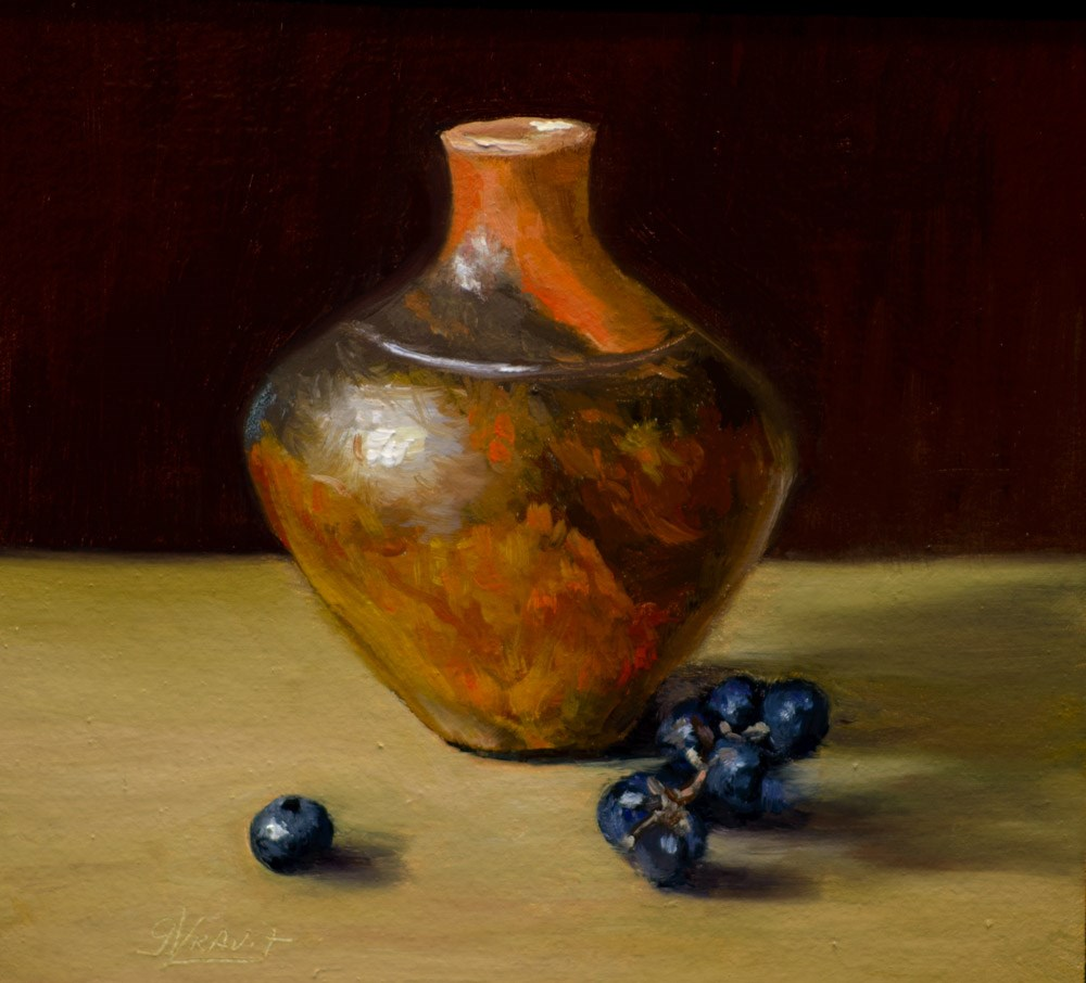 """""""Rollins Pottery, Concord Grapes and a Blueberry"""" original fine art by Garry Kravit"""
