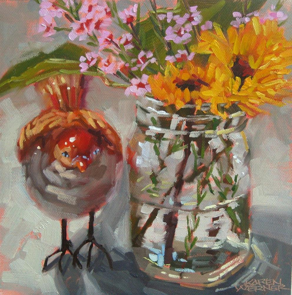 """Jar With Bird"" original fine art by Karen Werner"