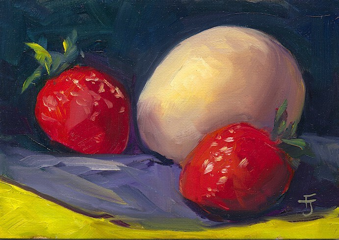 """Strawberries and Egg"" original fine art by Francine Dufour~Jones"