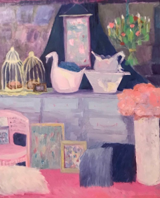 """Fancy Flea Window display"" original fine art by Angela Hansen"