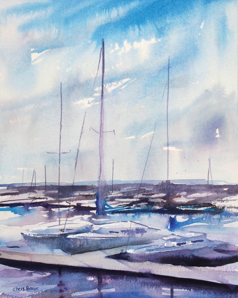 """Summer Afternoon at the Waterfront"" original fine art by Chris Breier"
