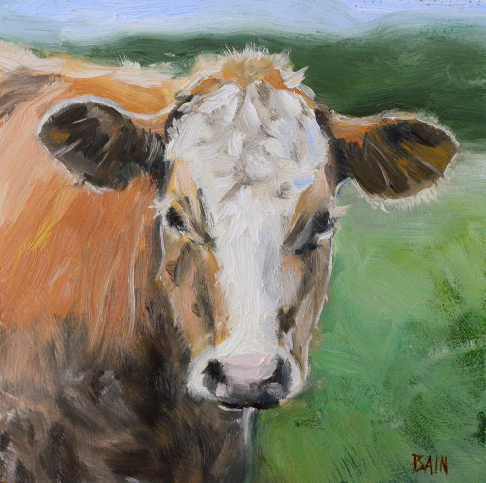 """""""Cow no. 7"""" original fine art by Peter Bain"""
