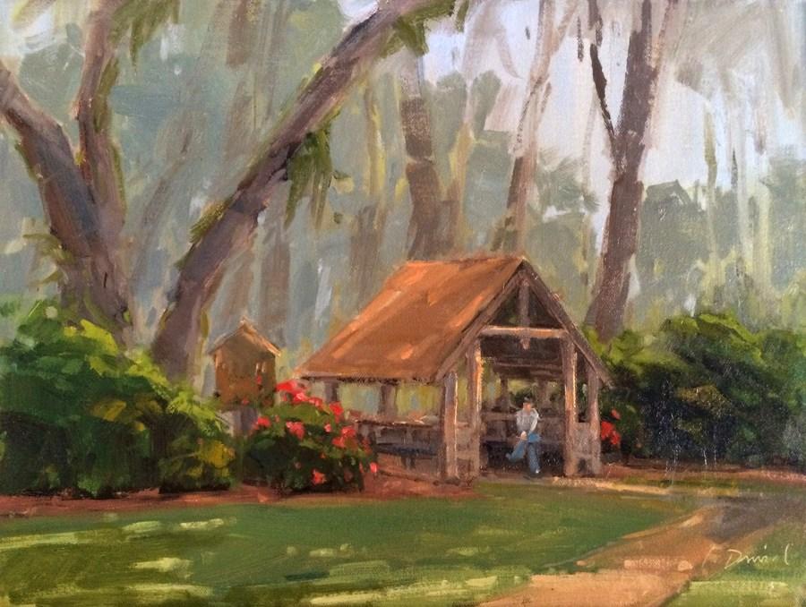 """Quiet Moment Under the Lych Gate - Georgia Coast"" original fine art by Laurel Daniel"