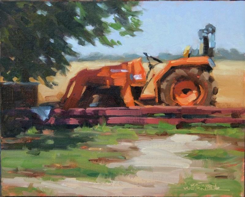 """""""Tractor Sun & Shadow"""" original fine art by Karen Werner"""
