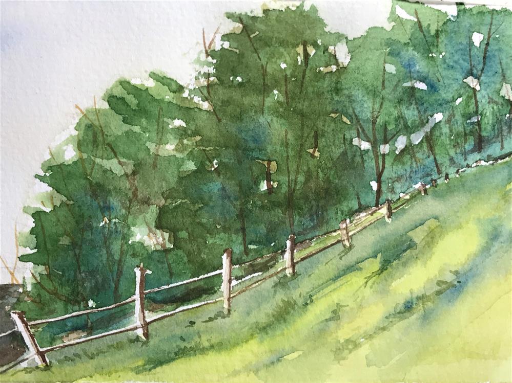 """fence along the tree line"" original fine art by Betty Argiros"