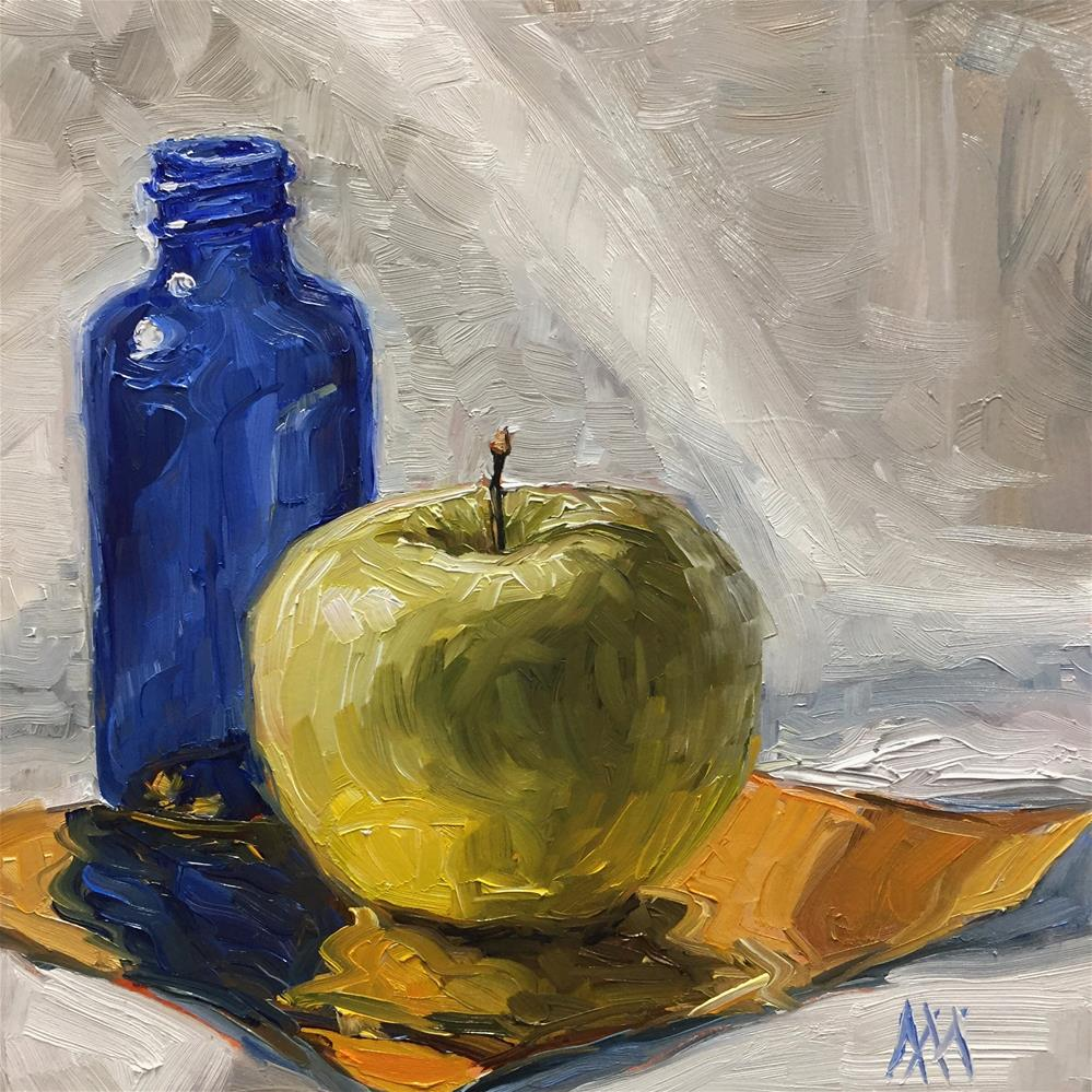 """Still Life with Bottle & Apple"" original fine art by Austin Maloney"