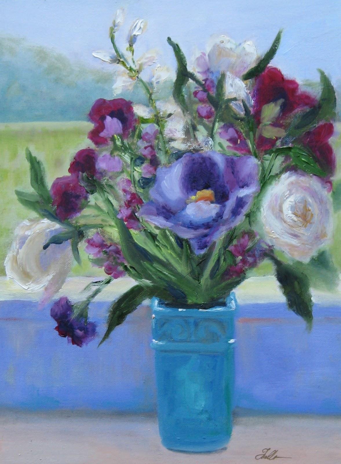 """Flower Study #47 - Giverny Morning"" original fine art by Pat Fiorello"