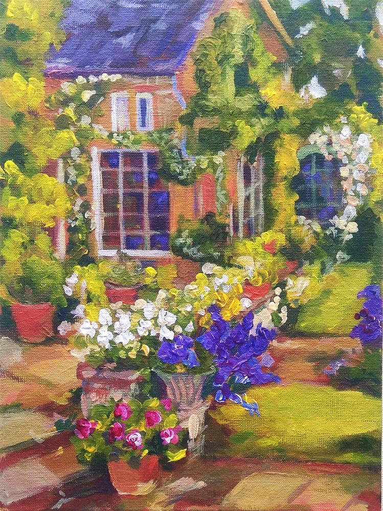 """On the Backyard Flowers Out back Acrylic Painting"" original fine art by Elena Konysheva"