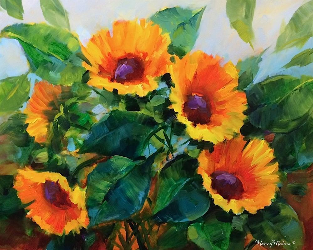 """A Brush With Summer Sunflowers"" original fine art by Nancy Medina"