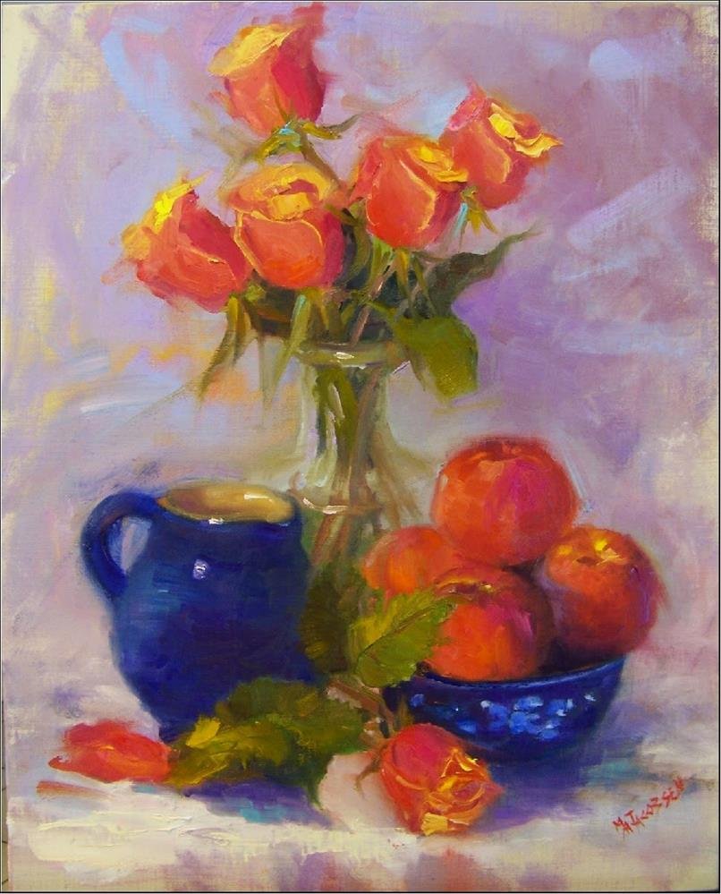 """""""Peaches and Cream, 16x20, oil on linen, paintings of fruit, roses, peaches, blue, award-winning ar"""" original fine art by Maryanne Jacobsen"""