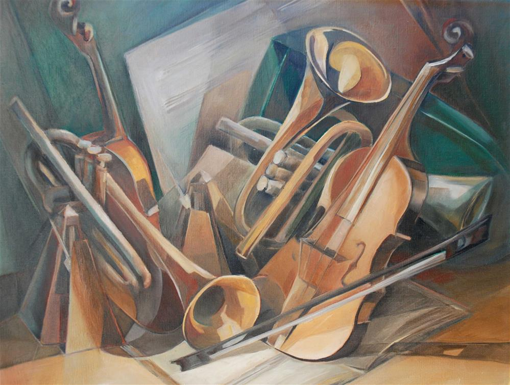 """Music instruments #1"" original fine art by Olga Touboltseva-Lefort"