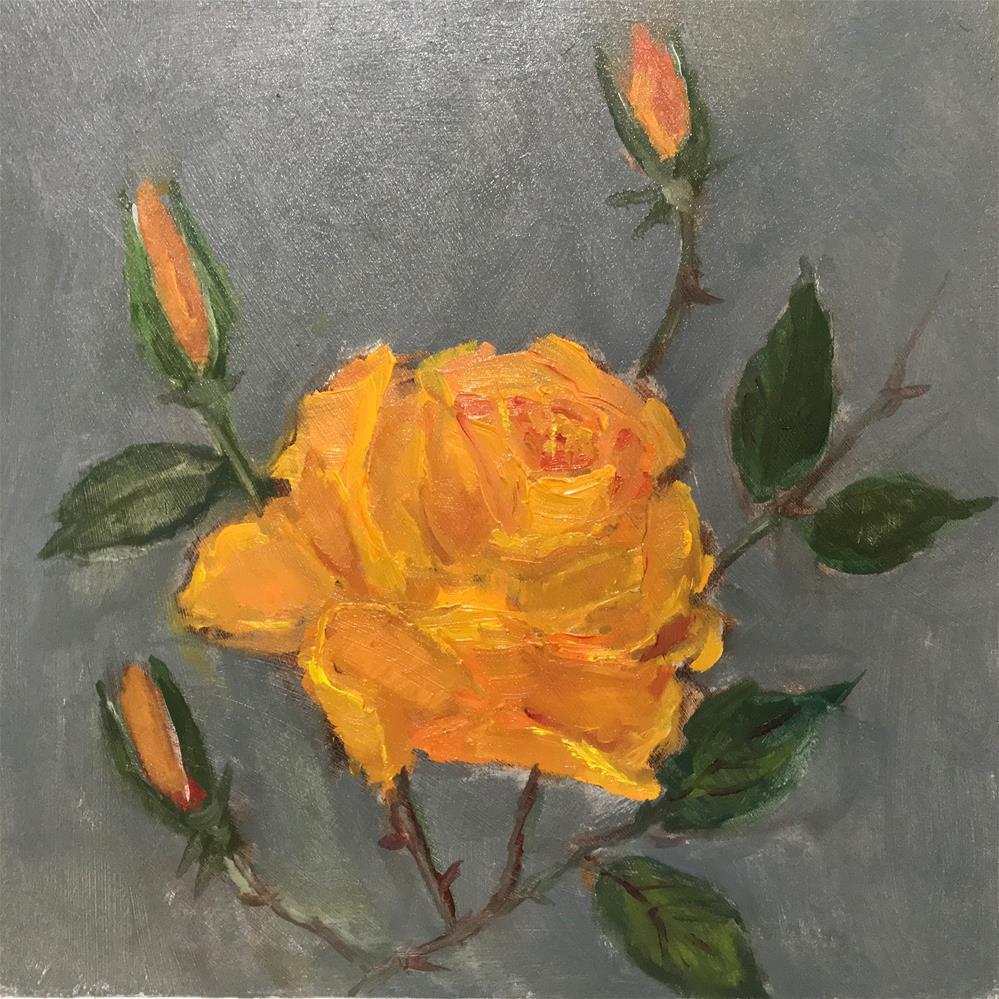 """yellow orange rose"" original fine art by Betty Argiros"