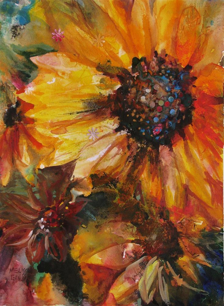 """Tango of the Sunflowers"" original fine art by Melissa Gannon"