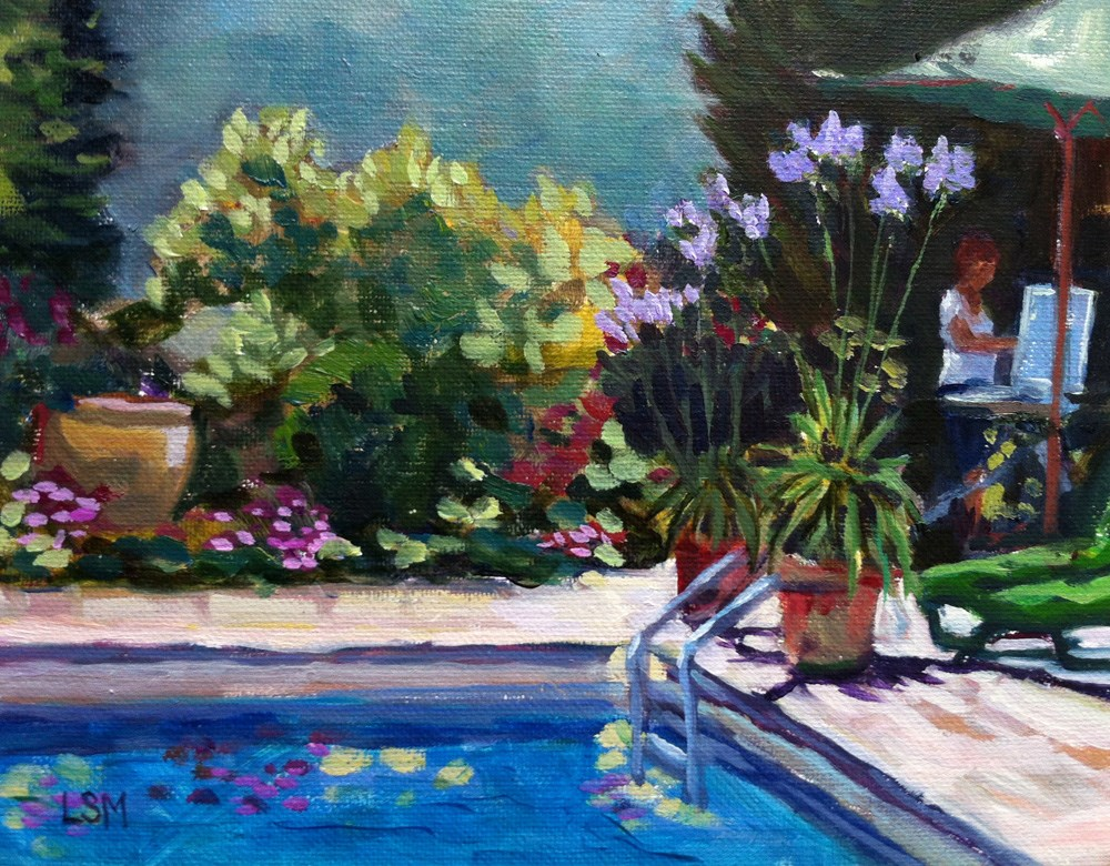 """Painting by the Pool"" original fine art by Linda Marino"