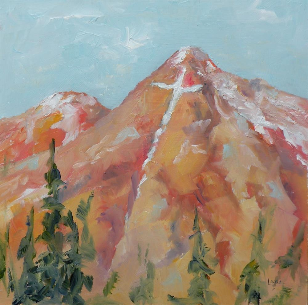"""MT. OF THE HOLY CROSS 6X6 OIL ON PANEL © SAUNDRA LANE GALLOWAY"" original fine art by Saundra Lane Galloway"