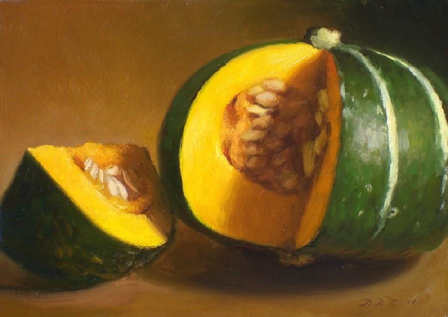 """Sliced Acorn Squash"" original fine art by Debra Becks Cooper"