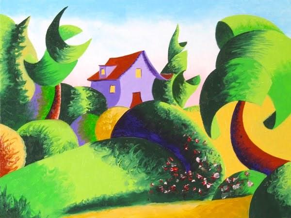 """Mark Webster - Abstract Geometric Landscape Oil Painting - Virtual Paintout Gdansk"" original fine art by Mark Webster"