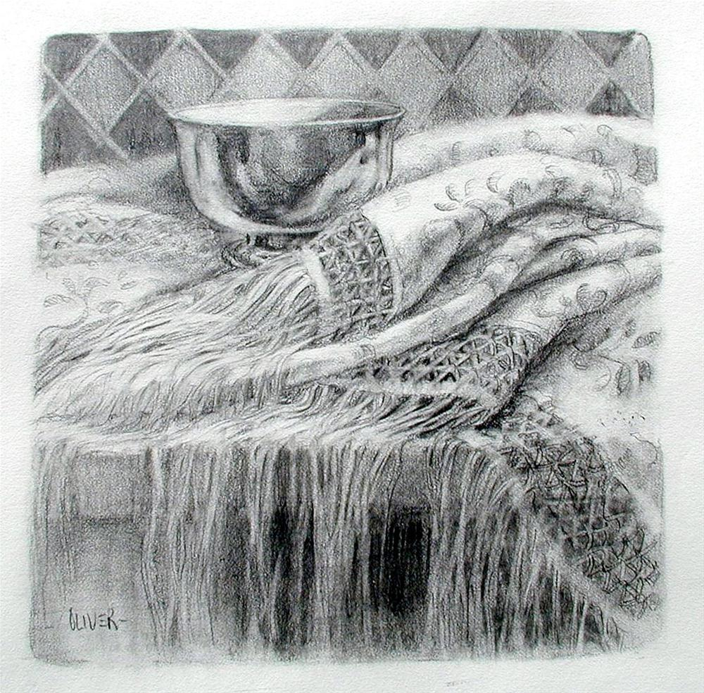 """""""Shawl and Silver Bowl"""" original fine art by Julie Ford Oliver"""