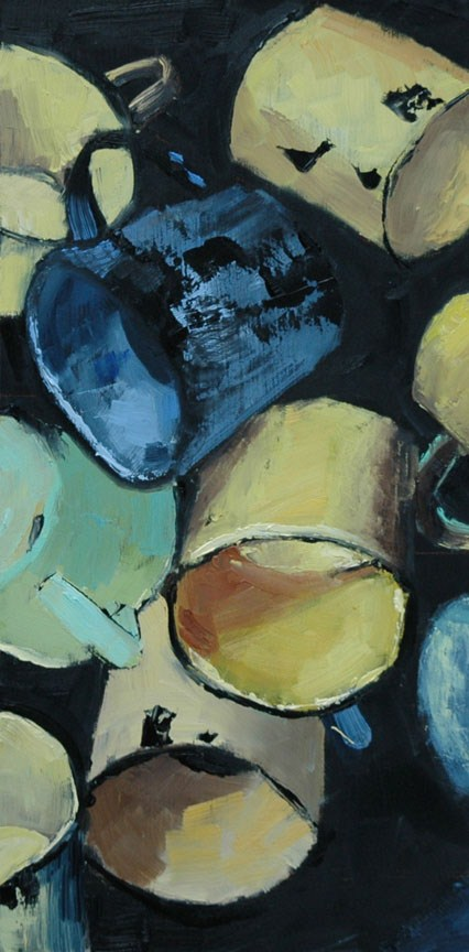 """TIN CUPS"" original fine art by Linda Popple"