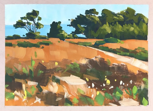 """Bluffs in Orange - Gouache"" original fine art by Sharon Schock"