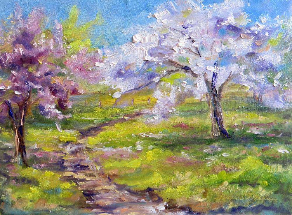 """""""Flowering Pear and Plum"""" original fine art by Tammie Dickerson"""