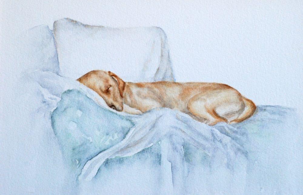 """Billy is a bad bad doggy."" original fine art by Vicki Wood"