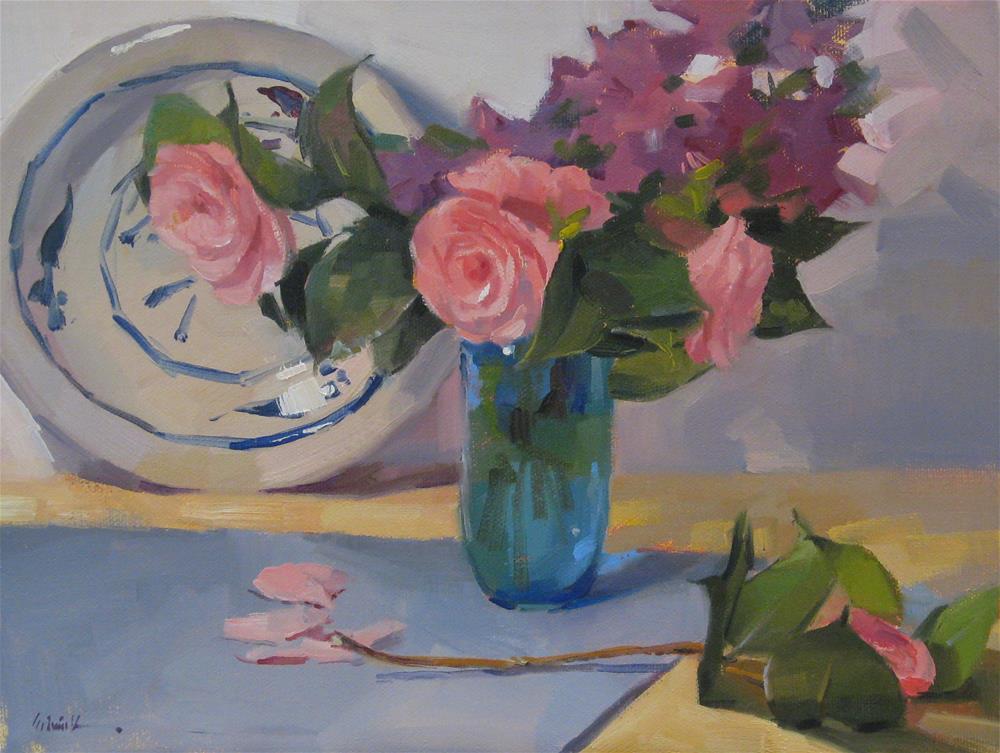 """Pink Camellias"" original fine art by Sarah Sedwick"