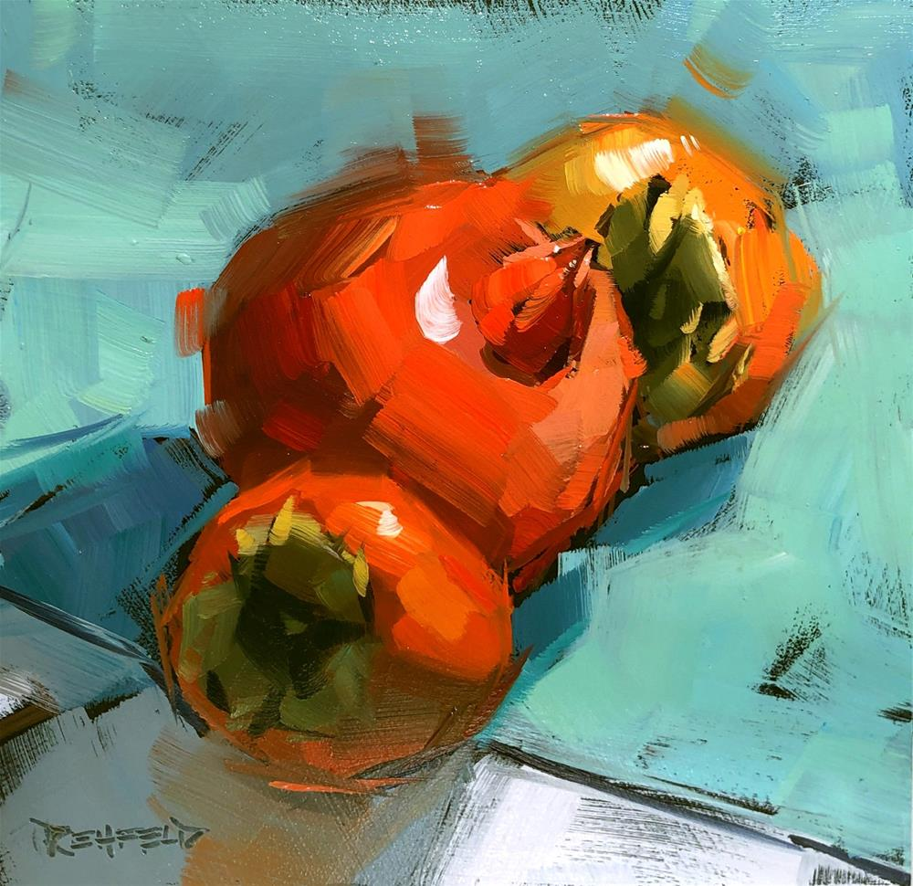 """Pomegranate and Persimmons"" original fine art by Cathleen Rehfeld"