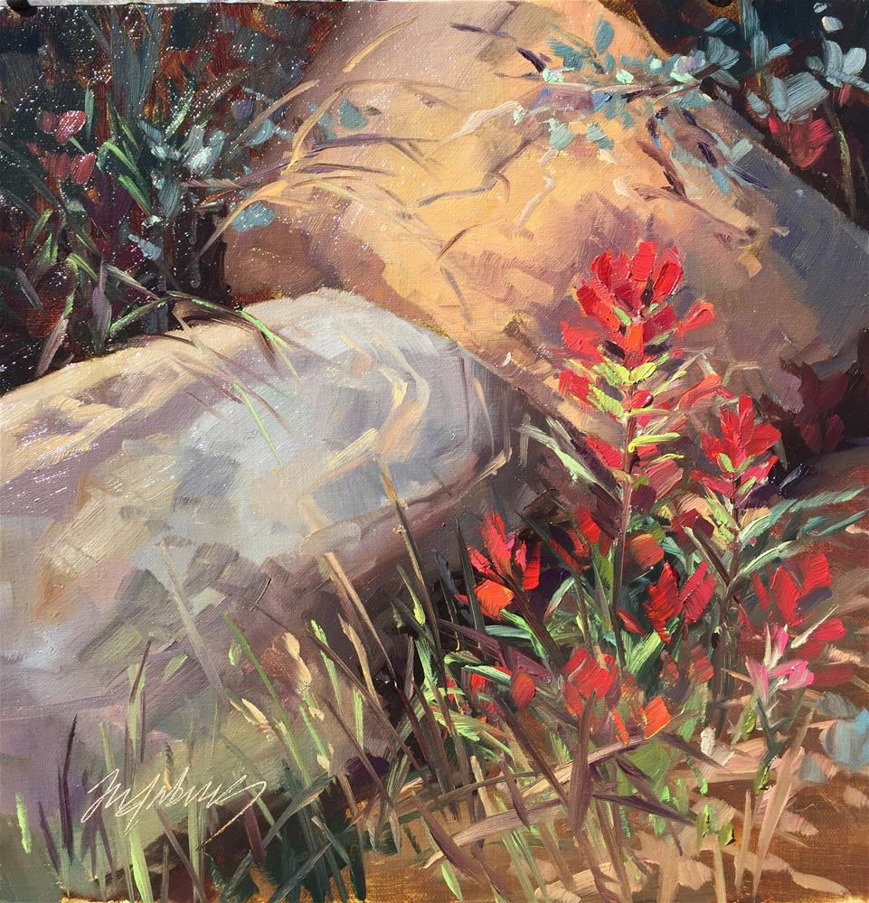 """Indian Paintbrush"" original fine art by Mary Jabens"