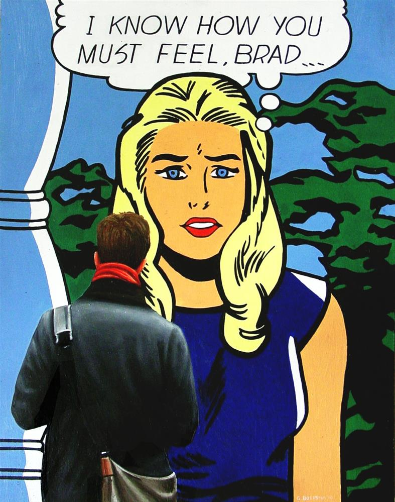 """""""I Know- Painting Of Man Enjoying Painting I Know How You Must Feel, Brad By Roy Lichtenstein"""" original fine art by Gerard Boersma"""