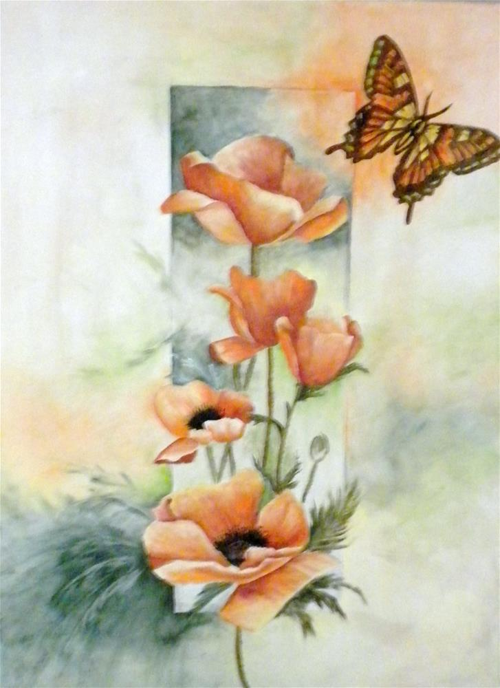 """Poppies and butterfly"" original fine art by Marti Idlet"